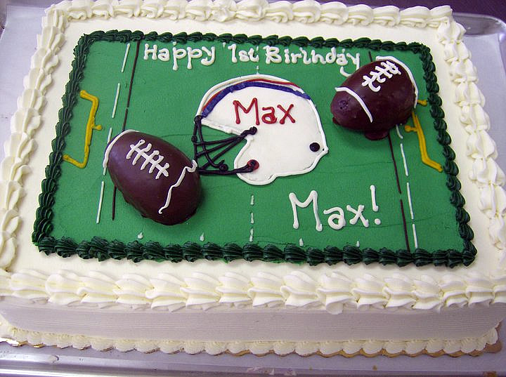 Football Themed Birthday Cake at Dolce and Biscotti Italian Bakery