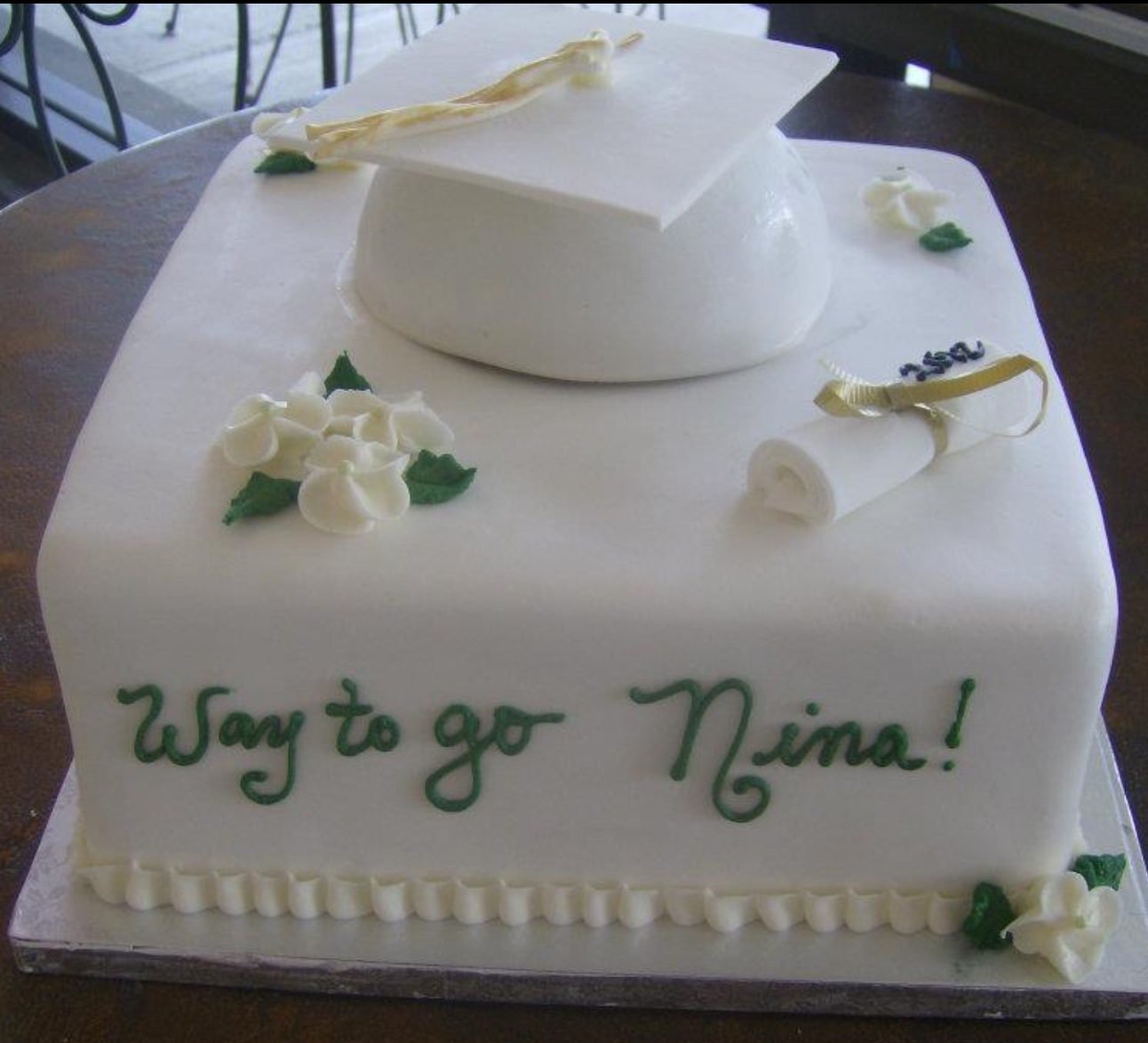 Graduation Cake, fondant covered at Dolce and Biscotti Italian Bakery