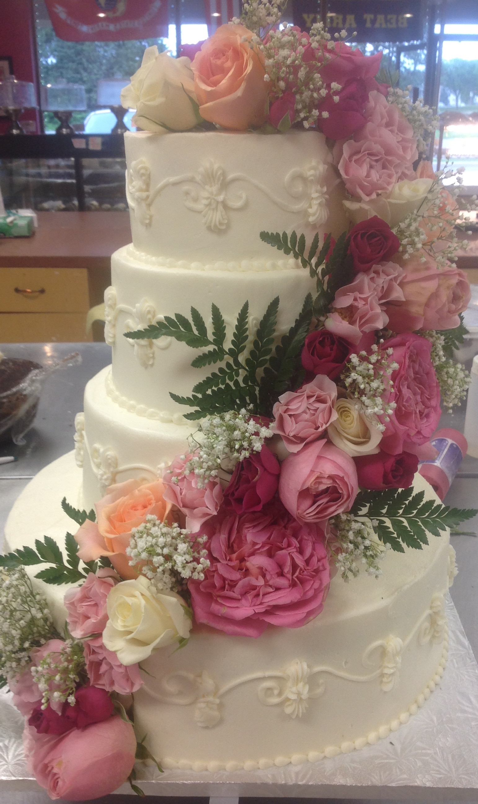 Fresh Flower Wedding Cake at Dolce and Biscotti Italian Bakery