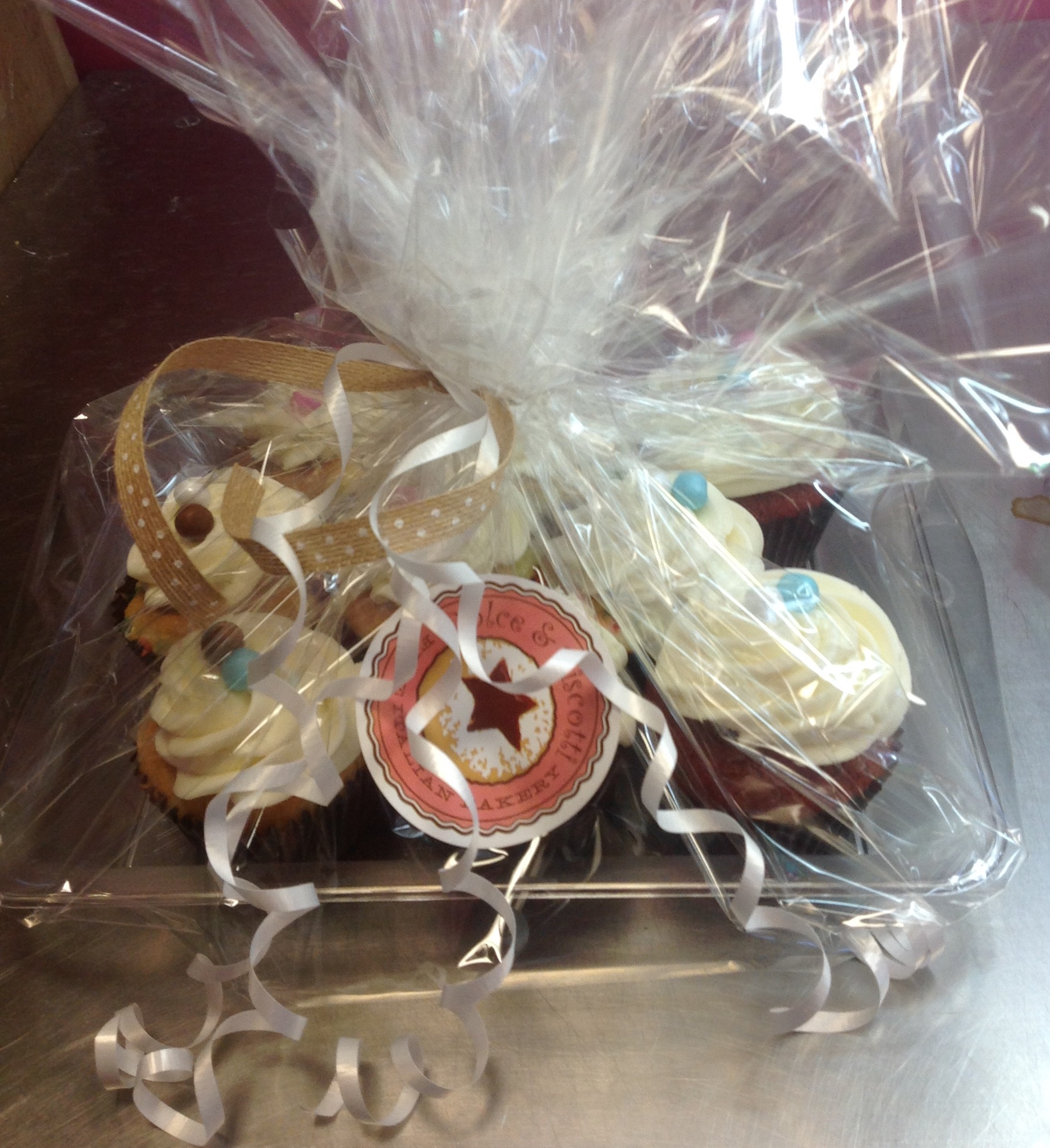 Cupcake platters and boxes at Dolce and Biscotti Italian Bakery