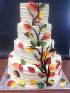 Tiered Wedding Cakes with Fondant Design at Dolce and Biscotti Italian Bakery